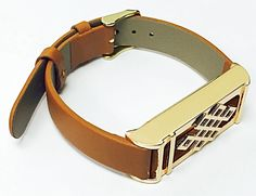 BSI Brown Leather Replacement Bracelet With New Unique Design Rose Gold Metal Housing For Fitbit Flex Smart Band