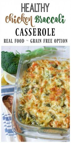 (Ad) this healthy chicken broccoli casserole is a delicious comforting classic. it's so easy to make, packed with protein, loaded with broccoli and full of Gluten Free Chicken Casserole, Dinner Casserole Recipes, Healthy Casserole Recipes, Easy Healthy Recipes, Real Food Recipes, Casserole Dishes, Dinner Recipes, Chicken Broccoli Casserole Healthy, Quinoa Broccoli