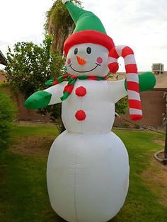 8 FT Snowman With Candy Cane Christmas Airblown Inflatable | eBay