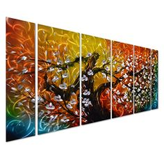 """Gigantic Tree of Life Metal Wall Art Decor - Large Colorful Abstract Artwork- Contemporary Flowers Sculpture Set of 6 Panels - 65"""" x 24"""" Pure Art http://www.amazon.com/dp/B00UGCICSY/ref=cm_sw_r_pi_dp_i5Iexb1SEE9XN"""