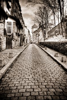 Streets of Paris black and white HDR photograph