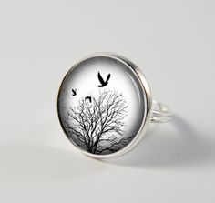 Grey Skies Ring - Resin Ring - Resin Jewelry - Blackbird Ring C166 on Etsy, $9.50