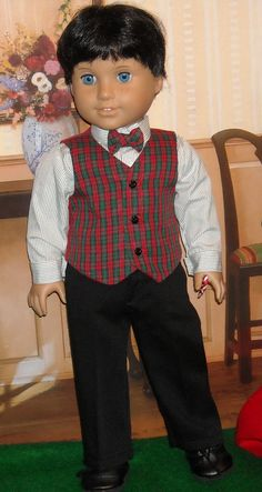 Winter Holiday Pants, Vest and Shirt w/bow tie for AG boy by SugarloafDollClothes on Etsy  $49.00