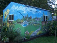 Garage Scene Murals | Outdoor murals dress up sheds, garages and blank walls, plus seven ... Blank Walls, Mural Painting, Fence Painting, Mural Art, Wall Murals, House Painting, Painted Garden Sheds, Painted Shed, Painted Fences