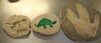 dinosaur salt-dough fossil making activity:    salt dough, paint brushes, dinosaur toys, clear varnish