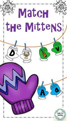 Match beginning sounds or upper/lowercase letters with a Mitten theme. $