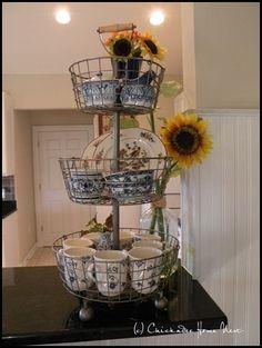 Early Fall Decor Around the House: Ballard Designes tiered basket at Chickadee Home Nest