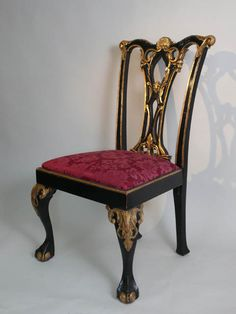 Chippendale ebony and gilt single chair, 99cm high. **Available to hire** (Stock code;-CHAE60024) www.farley.co.uk