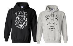 Couples Hoodie, King shirt queen shirt, king and queen, lion king, custom hoodies, printed hoodie couple funny hoodie husband wifey hoodies by MOTIFIT on Etsy