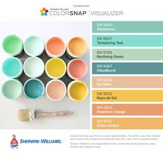 I found these colors with ColorSnap® Visualizer for iPhone by Sherwin-Williams: Aquastone (SW 9043), Tantalizing Teal (SW 6937), Reclining Green (SW 6744), Cloudburst (SW 6487), Sociable (SW 6359), Rayo de Sol (SW 9020), Inventive Orange (SW 6633), Olden Amber (SW 9013).