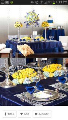 Royal Blue And Yellow Gold Wedding Table Centerpieces Decorations