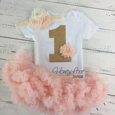 1st Birthday Outfit, peach gold glitter 1 number shirt, pettiskirt tutu skirt, lace shabby flower headband bow, First Cake Smash baby girl - HoneyLoveBoutique