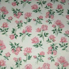 Vintage Wrapping Paper or Gift Wrap with Beautiful Pink Roses