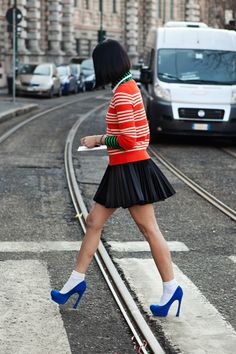 Stripes, Pleats, and Bold Color! I would totally wear things like this!  Absolutely LOVE!