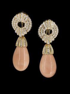 18 Kt., Angel-Skin Coral and Diamond Earrings : Lot 982