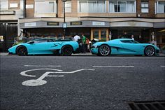 Lambo and Koenigsegg...Only the Royal Al Thani family from Qatar can pull off this colour blue!