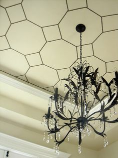 i used nail head strips for this unique treatment on our dining room ceiling for, dining room ideas, home decor, Nailhead Ceiling Ceiling Tiles, Ceiling Decor, Ceiling Design, Ceiling Lights, Ceiling Painting, Wall Decor, Ceiling Chandelier, Black Chandelier, Plafond Design