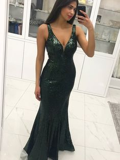Sexy Long Green Mermaid Lace Prom Dresses Sequins Backelss Formal Evening Dress by prom dresses, $181.00 USD