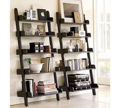 Ladder Shelves : Maybe I could build something like this for the awkward nook where the TV is now