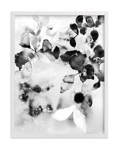 """""""Flora in B+W"""" - Art Print by V E R Y M A R T A in beautiful frame options and a variety of sizes."""