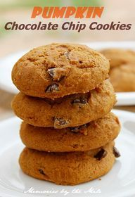 These Pumpkin Chocolate Chips Cookies are moist, full of flavor and oh so chocolaty ... Perfect recipe for a ...   Memories by the Mile
