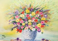 SPRING FLOWERS-Colorful original oil on canvas by GretaArts