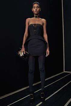 Balmain | Pre-Fall 2016 | 28 Black strapless mini dress with lace panel