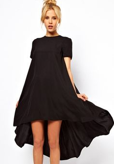 Black Plain Swallowtail Short Sleeve Loose Polyester Dress - might be perfect for Family camp Banquet Night!