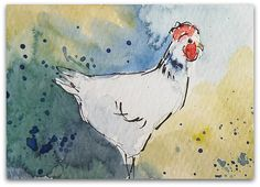 Rooster painting Original Miniature Watercolour by StudioHydeArt #original #watercolour #painting #rooster #art #roosterpainting #etsy #devonetsy