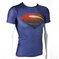 Men Short Sleeve Compression T-shirt Marvel DC Comics Superman Tee Fitness Tops #Unbranded #BasicTee