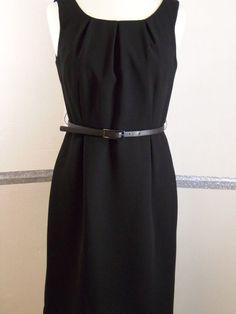 Calvin Klein 8 Petites Dress Black with belt Polyester Knee-Length  #CalvinKlein #Sheath #LittleBlackDress