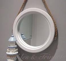 White Round Porthole Bathroom Mirror Rope Wooden Nautical Rustic