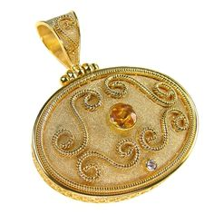 Damaskos Center Citrine Grand Circle Sided Medallion, 18k Gold, a Diamond and a choice of Citrine or Sapphire (you may choose your sapphire color). Athena's Treasures, www.athenas-treasures.com