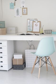 Home inspiration for baby blue and grey rooms. Modern scandi desk home office with eames chair