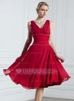 A-Linie/Princess-Linie V-Ausschnitt Knielang Chiffon Festliche Kleid mit Rüschen Perlen verziert (020039561) - JJsHouse