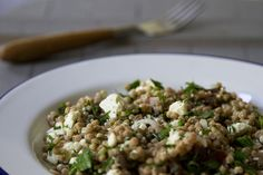 couscous salad with fresh herbs, feta, and apricots   reading my tea leaves