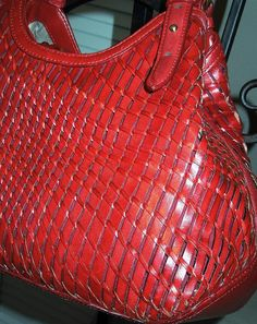 COLE HAAN Woven Red Patent Leather Eve ll Hobo Handbag Tote Shoulder Purse GORGEOUS Mint Condition Large