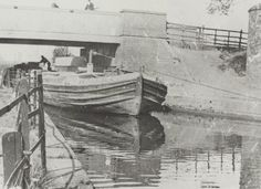 """Caption: """"Wide boat being towed at Three Bridges in Hanwell on the Grand Junction Canal"""" Three Bridges, London Pictures, Canal Boat, Old Photos, Caption, Boats, British, Places, Life"""