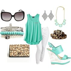 Cute Aqua leopard print outfit with wedges