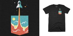 """""""Pocket Rocket"""" t-shirt design by campkatie"""
