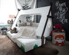 DIY Toddler Bed in Shape of a Tent – Kids TeePee Trundle Bed The Great Inspiration for Your Kids Bedroom Themes Bedroom Furniture High Re. Teepee Bed, Diy Teepee, Kids Bed Tent, Canopy Tent, Toddler Rooms, Kids Rooms, Toddler Teepee, Toddler Beds For Boys, Room Kids