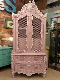 Henrietta and Old White Custom mix wiht Old White Highlights in Chalk Paint®by Annie Sloan. Painted by Jenni from Largo Florida, Chalk Paint Stockist. #anniesloanpaintedfurniture Armoire Rose, Armoire Vitrine, Baby Armoire, Antique Furniture, Painted Furniture, Repurposed Furniture, Funky Furniture, Refurbished Furniture, Furniture Makeover