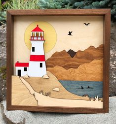 Laser Cut Wood Shadow Box Scene / Lighthouse By The Sea / Handcrafted / Etched and Inlaid / Whales and Gulls / Coastal Seaside, Mountains by CuttingEdgeLaserSrvs on Etsy 3d Laser, Laser Cut Wood, Wood Crafts, Diy And Crafts, Paper Crafts, Deco Marine, Wood Shadow Box, Scroll Saw, Art Festival