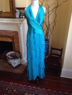 Tadashi Shoji Turquoise HALTER LONG FORMAL DRESS WOMENS GOWN PROM WEDDING Medium #TadashiShoji #Halter #Formal