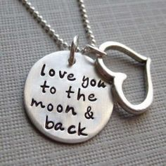 Love you to the moon and back necklace - Sterling Silver necklace with a Heart charm - Keepsake (NN001) - USD $46.99