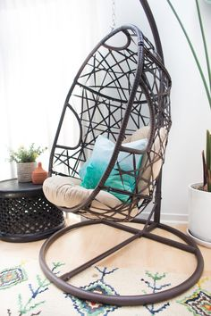 That egg chair and aqua pillows? Living Room Chairs, Home Living Room, Interior Design Inspiration, Room Inspiration, Small Chair For Bedroom, Grey Accent Chair, Accent Chairs, Turquoise Chair, Hanging Egg Chair