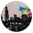 City Vibes 2 - Available in 4 different sizes, round ready to hang modern art from www.the-artwork-factory.com By The Artwork Factory.