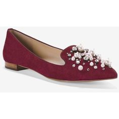 White House Black Market Embellished Flats ($115) ❤ liked on Polyvore featuring shoes, flats, flat pump shoes, leather flat shoes, leather flats, embellished flat shoes and flat shoes