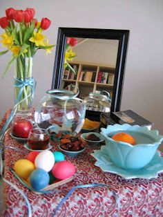 Haft-Sin or the seven 'S's is a traditional Persian table setting for Naw-Ruz, the Spring Celebration (New Year).