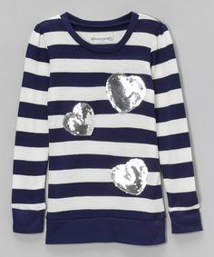 Loving this Navy Stripe Sequin Hearts Tunic - Girls on #zulily! #zulilyfinds